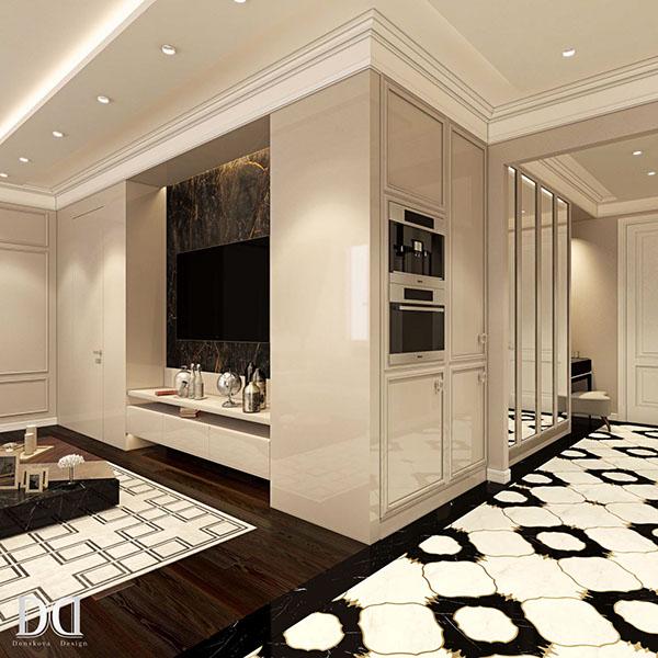 0381f179d1e68 Глянцевые Панели использованные в отделке стен добавляют помещению глубины.  Так же в облицовке кухонного фартука и TV зоны использован мрамор Port  Laurent.